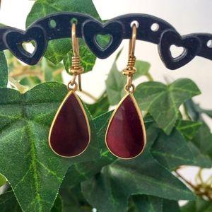Laurel Burch Dark Burgundy Wine Earrings